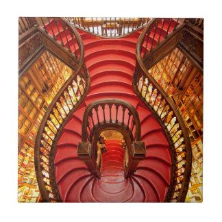 Ornate red stairway, Portugal Tiles