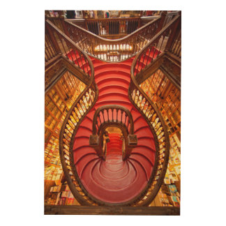 Ornate red stairway, Portugal Wood Print