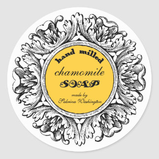 Ornate Round Frame Hand Milled Soap Label