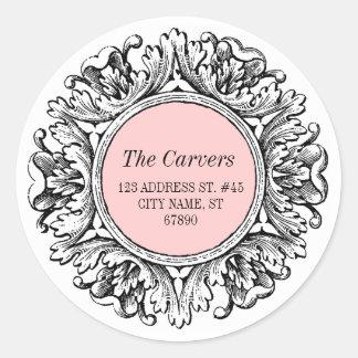 Ornate Round Frame Return Address Label Pink Round Sticker