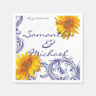 Ornate Royal Blue Yellow Sunflowers Disposable Napkins