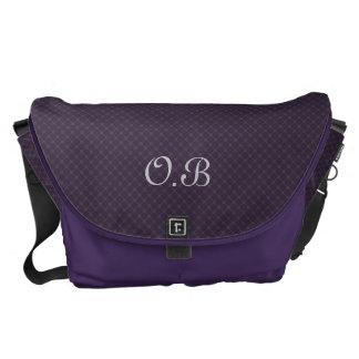 Ornate Royal Purple Pattern Custom Monogram Commuter Bag