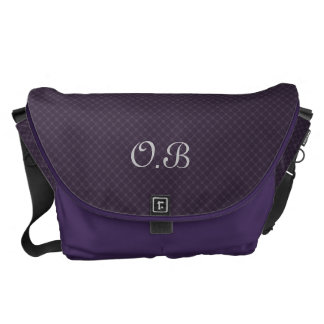 Ornate Royal Purple Pattern Custom Monogram Courier Bag