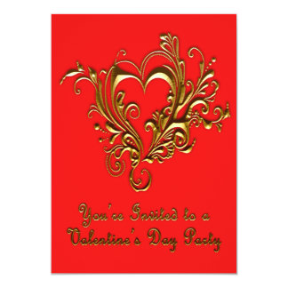 Ornate Scrolled Heart Metallic Gold on Bright Red Card