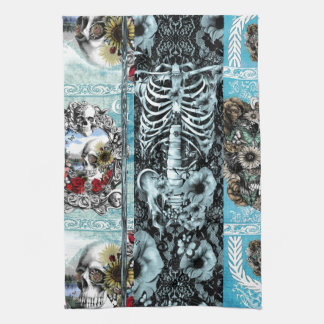 Ornate skull collage kitchen towel