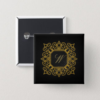 Ornate Square Monogram on Black Circular 2 Inch Square Button