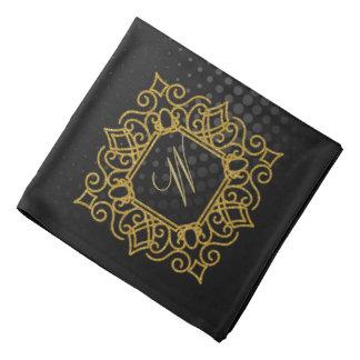 Ornate Square Monogram on Black Circular Bandana