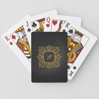 Ornate Square Monogram on Black Circular Playing Cards