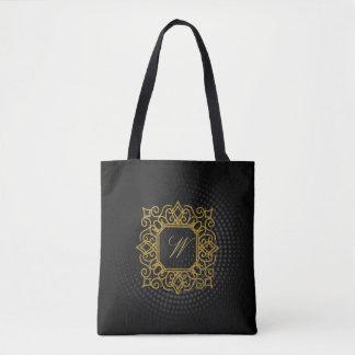 Ornate Square Monogram on Black Circular Tote Bag