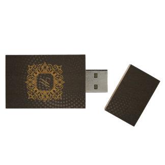 Ornate Square Monogram on Black Circular Wood USB Flash Drive