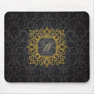 Ornate Square Monogram on Black Damask Mouse Pad