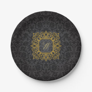 Ornate Square Monogram on Black Damask Paper Plate