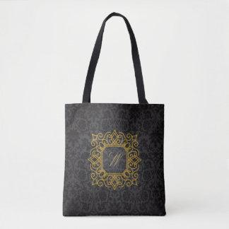 Ornate Square Monogram on Black Damask Tote Bag