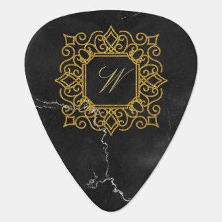Ornate Square Monogram on Black Marble Guitar Pick