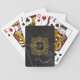 Ornate Square Monogram on Black Marble Playing Cards