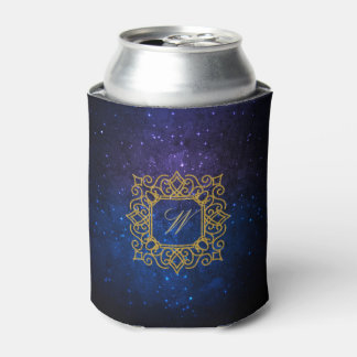 Ornate Square Monogram on Blue Galaxy Can Cooler