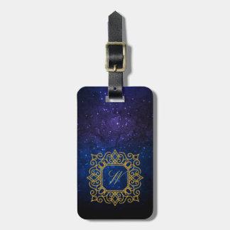 Ornate Square Monogram on Blue Galaxy Luggage Tag