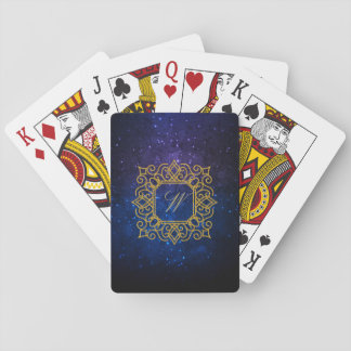 Ornate Square Monogram on Blue Galaxy Playing Cards