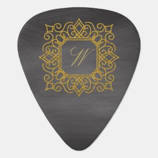 Ornate Square Monogram on Chalkboard Guitar Pick