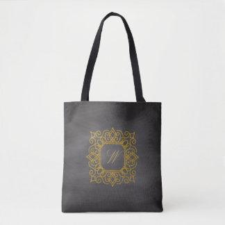 Ornate Square Monogram on Chalkboard Tote Bag