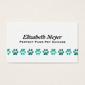 Ornate Teal Paw Print Pattern in Teal Business Card