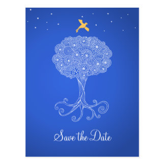 Ornate Tree of Life Blue Save the Date Postcard