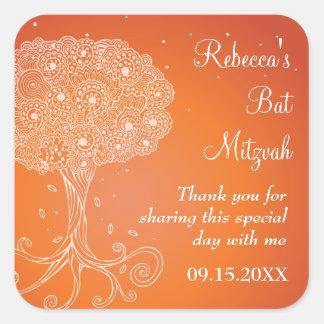 Ornate Tree of Life Orange Bat Mitzvah Square Sticker