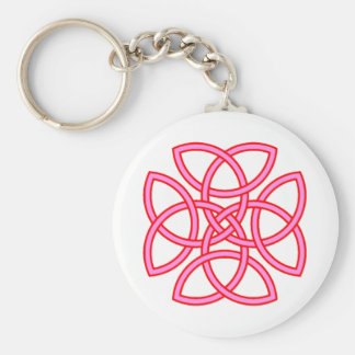 Ornate Triquetra Cross in Pink Red Basic Round Button Keychain