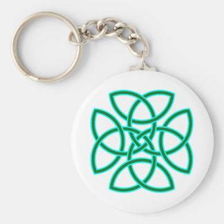 Ornate Triquetra Cross in Sage Bright Green Basic Round Button Keychain