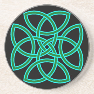 Ornate Triquetra Cross in Sage Bright Green Coaster