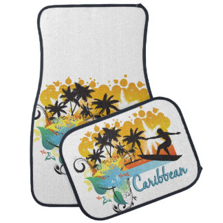 Ornate Tropical Paradise with Surfer CARIBBEAN Auto Mat