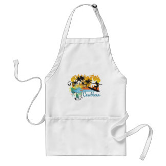 Ornate Tropical Paradise with Surfer CARIBBEAN Standard Apron