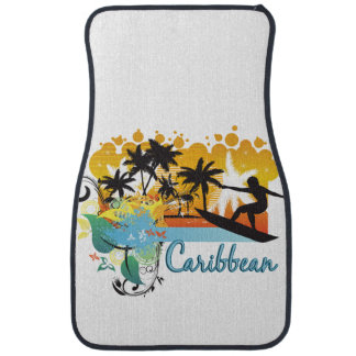 Ornate Tropical Paradise with Surfer CARIBBEAN Car Mat