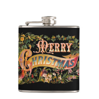 Ornate Victorian Christmas Typography Greeting Flasks