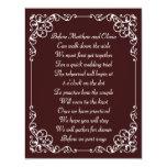 """Ornate Vintage Rehearsal Dinner Poem Invites 4.25"""" X 5.5"""" Invitation Card"""