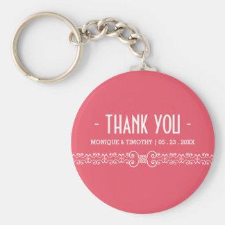 Ornate White Belt - Pink Blush Wedding Thank You Keychain