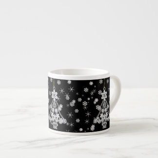 Ornate White Christmas Tree & Snowflakes Espresso Cup