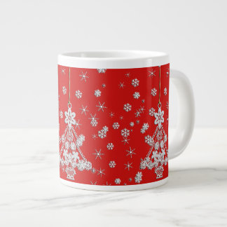 Ornate White Christmas Tree & Snowflakes Large Coffee Mug