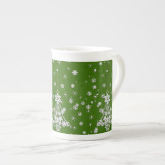 Ornate White Christmas Tree & Snowflakes Tea Cup