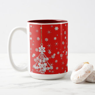 Ornate White Christmas Tree & Snowflakes Two-Tone Coffee Mug