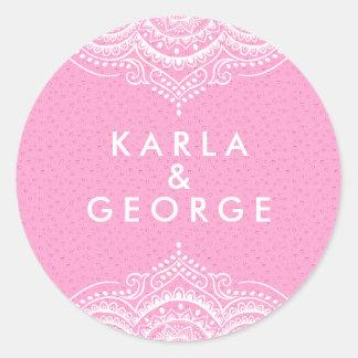 Ornate White Lace & Pink Hearts Pattern Classic Round Sticker