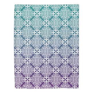 Ornate White Purple And Teal Damask With Gradient Duvet Cover