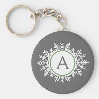 Ornate White Sage Green Snowflake Monogram Gray Basic Round Button Keychain