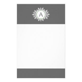 Ornate White Sage Green Snowflake Monogram Gray Stationery