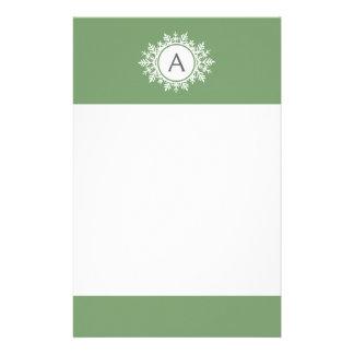 Ornate White Snowflake Circle Monogram Sage Green Stationery Design