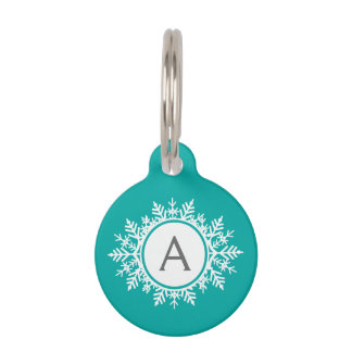 Ornate White Snowflake Monogram on Bright Teal Pet ID Tag
