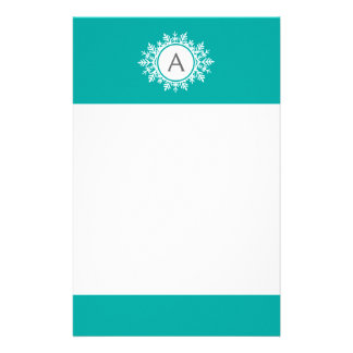 Ornate White Snowflake Monogram on Bright Teal Stationery Paper