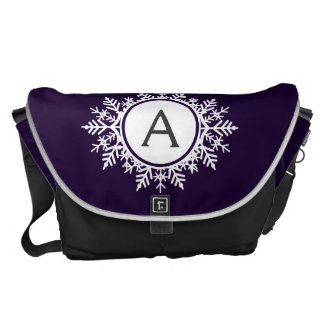 Ornate White Snowflake Monogram on Purple Courier Bag