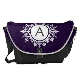 Ornate White Snowflake Monogram on Purple Courier Bags