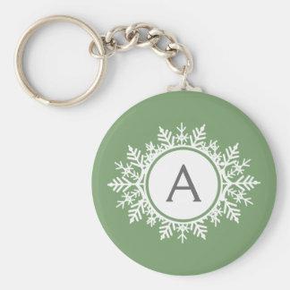 Ornate White Snowflake Monogram on Sage Green Basic Round Button Keychain